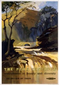 The Peak District, Derbyshire. British Railways (BR) (LMR) Vintage Travel Poster by Claude Buckle